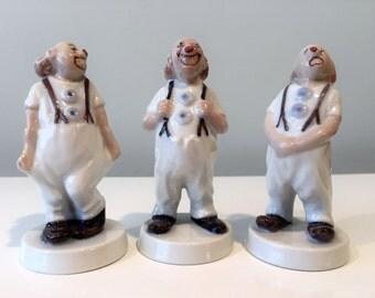 3 Bing & Grondahl Denmark Porcelain Clown Figurines Scandinavian Pottery