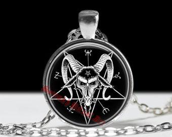 Satanic goat pendant, pentagram jewelry,  666 amulet, Black Mass accessories #4