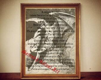 LUCIFER PRAYER the Fallen Angel antique print illustration poster vintage home decor alchemy magick occult vintage illumination /107