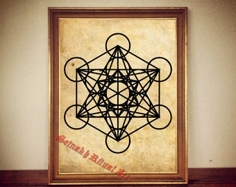 Metatron's cube print, sacred geometry antique print illustration poster vintage home decor alchemy magick hermetism gnostic occult #99