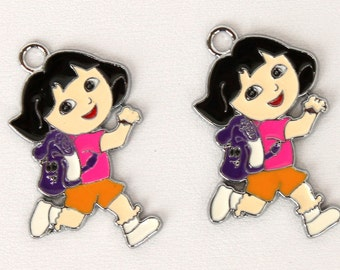 DIY Set of 2 Dora The Explorer 1 inch necklace/bracelet Pendant charms