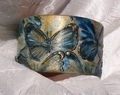 Painted wood bracelet Wood bangle bracelet  Butterfly Relief painting Decorative bracelet Blue Azure