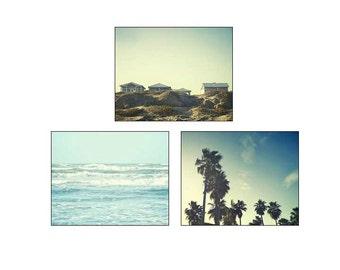 Beach photography, palm tree photo, beach decor, summer decor, blue, green, sea, sunset photo, ocean, landscape photography, palm trees