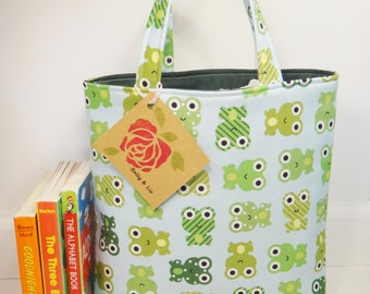 Frogs Tote Bag, Kids Bag, Toddler Tote Bag, Child Tote Bag, Frog Bag, Kids Tote Bag, Girls or Boys Tote Bag