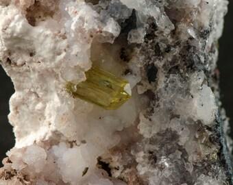 Yellow Apatite crystal in Chalcedony Matrix