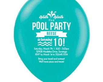 Summer Pool Party Balloon Invitation