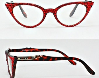 Cat Eye Reading Glasses made with Swarovski Crystals