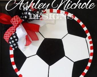 Soccer Ball Door Hanger, Door Decoration, Soccer Wreath
