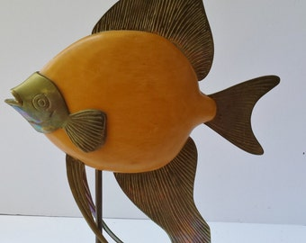 Decorative Crafts Inc Wood and Brass Angel Fish Sculpture