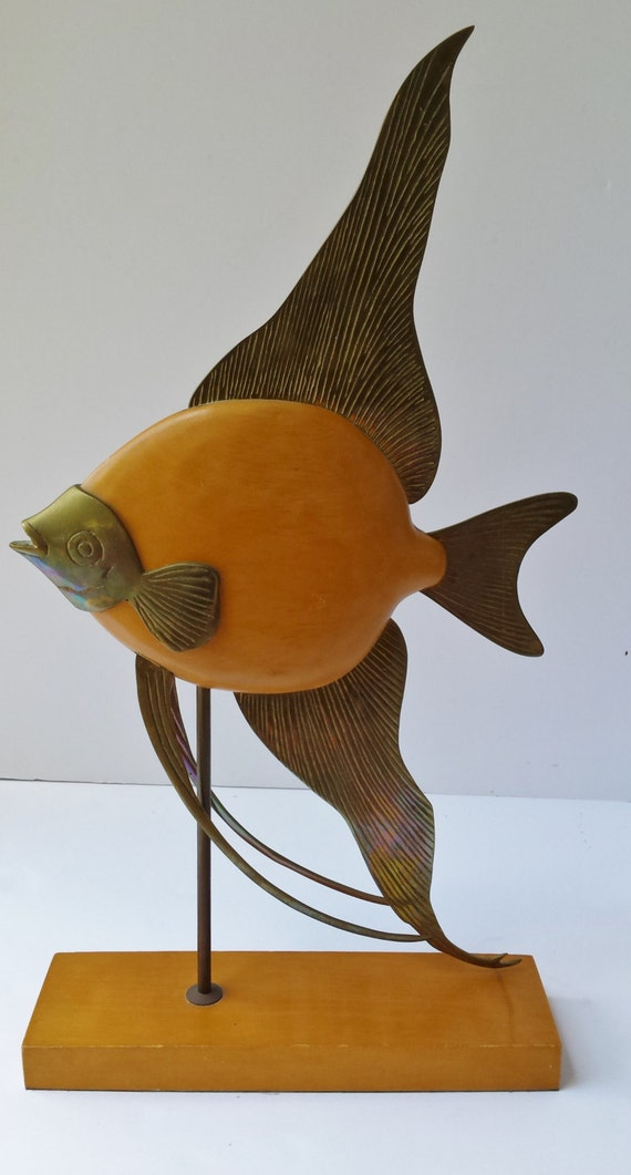 Decorative crafts inc wood and brass angel fish sculpture for Decorative crafts inc brass