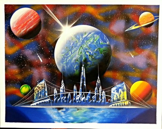 universe of new york spray paint art 14 in x 22 in space. Black Bedroom Furniture Sets. Home Design Ideas