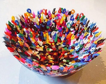 Colourful handmade plastic bowl