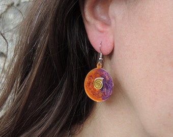 Round  shaped Dangle Earrings - Copper Enameled in Lilac/Orange colors