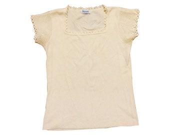 Ivory Knit Cap-Sleeve Top (Small)