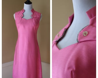 1960s pink party frock, rhinestone detail, M