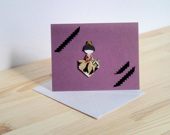 Black and gold on Purple Japanese Doll Card