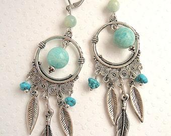 Earrings boho amazonite feather