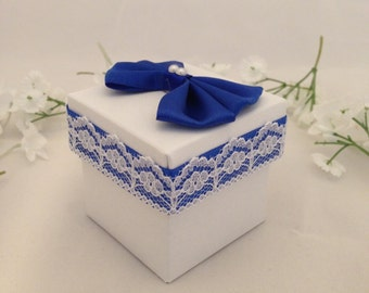 25 White Favor Boxes, Royal Blue, Lace, Wedding, Party Favor, Candy Holder, Quinceanera
