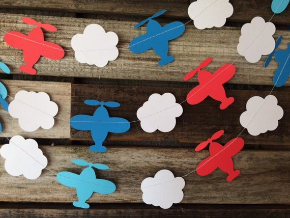Airplane party garland baby shower birthday party first for Airplane party decoration