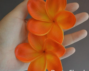Orange Plumerias Real Touch Flowers frangipani heads for cake decoration and wedding bouquets