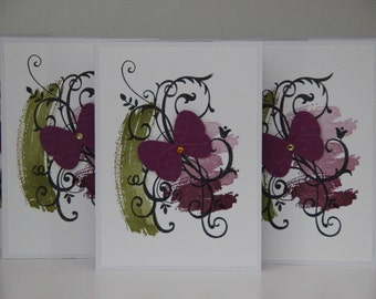 5 Butterfly Greeting Cards.  Blank Card Set.  Butterfly Stationery.  Butterfly Note Card set.  Paper Handmade Card Set. Blank Greeting Cards