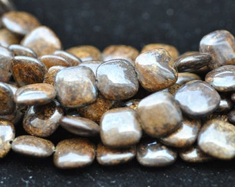 Bronzite Square Beads 14mm 16 Inches Strand