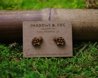turtle laser cut bamboo stud earrings