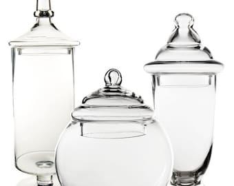 Apothecary Jar Glass Candy Buffet Jar with Lid, Set of 3 pcs #GAJ003-118S-131