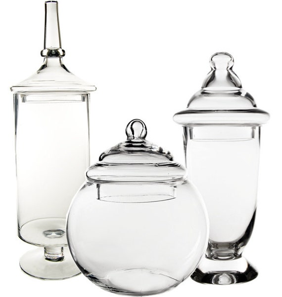 apothecary jar glass candy buffet jar with lid set by modernvase. Black Bedroom Furniture Sets. Home Design Ideas