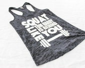 Squat Like Tom Hardy Womens Gym Tank. Womens Burnout Gym Tank. Burnout Gym Tank Top. Womens workout clothes. workout tank top. funny tank.