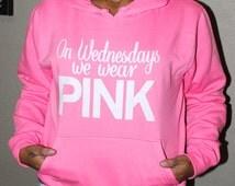 On-Wednesdays-We-Wear-Pink. Mean Girls Fleece Sweatshirt. Off Shoulder Sweatshirt. Vneck sweater. Breast Cancer Shirt. Breast Cancer sweater