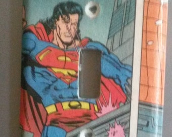 Superman Comic  Book  Decoupaged Light Switch Cover