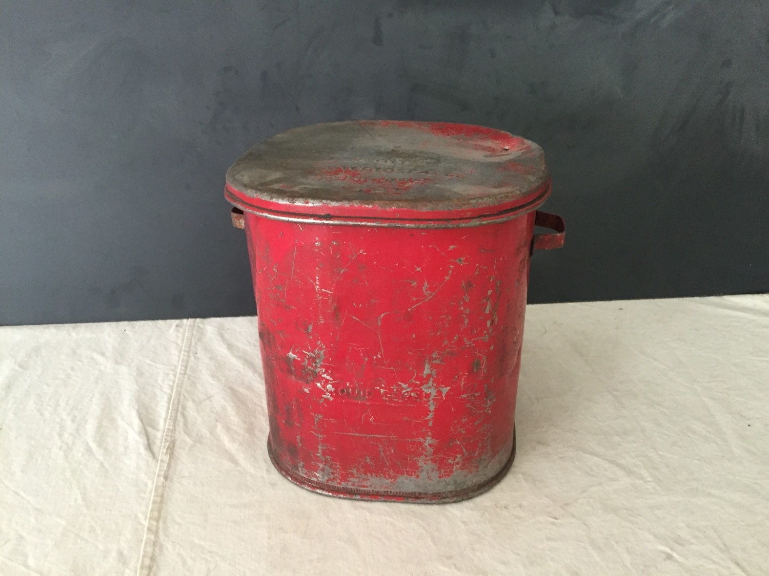 Sale vintage 1920 s industrial protectoseal co chicago red oil rag waste can bin rustic home - Rd trash can for sale ...