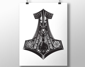 Thor's Hammers (Mjölnir) Large Print (329mm x 483mm | 13 x 19inches)