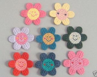 Lot of 8 Crochet Sunflower Appliques 8 Colors A138