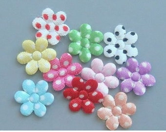 100 Padded Satin Swiss Dots Flower Appliques Multi-Color A208