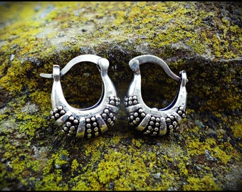 Small Silver earrings. Tribal earrings ethnic style. Boho earrings.