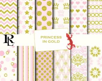 Pink gold Digital Paper - gold pink Background - gold pink texture - princess digital paper- gold glitter paper - pink paper