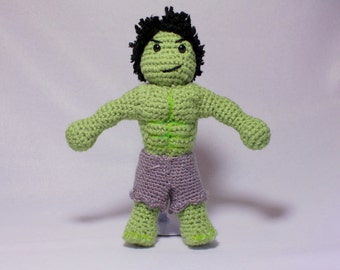 9 inch Incredible Hulk Doll, Amigurumi Hulk, Crochet Hulk Doll, Superhero Doll