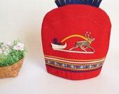 Scandinavian Vintage Teapot Warmer, Red Teapot Cover, Scandinavian Folk Art, Kitchen Accessory, Housewares, Reindeer Leather Ornament @103