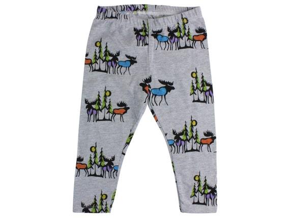 Moose Baby Leggings Boy Baby Leggings Moose Toddler Leggings Boy Leggings Unisex Leggings Black and Gray Toddler Pants Moose Leggings