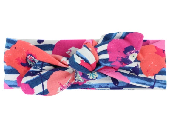 Floral Baby Top Knot Headband Blue Floral Adult Knot Headband Baby Headwrap Adult Headwrap Knotted Headband Knotted Headwrap Pink and Blue