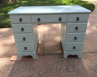 "Redesigned Solid Maple Vintage ""Ocean Breeze"" Desk or Vanity"