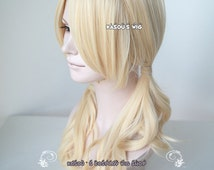 Sucker Punch Babydoll curly twin tails light blonde cosplay wig with long bangs . Lolita hair ( SP08 )