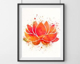 Lotus art print- Red orange- Lotus print- Flower