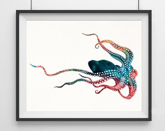 Octopus Watercolor Print, Octopus Art Print, Watercolor Art, Animal Watercolor, Octopus Home Decor Wall Art, Octopus Painting Print- 31