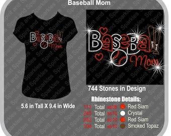 Baseball Mom Rhinestone T-Shirt, Tank or Hoodie