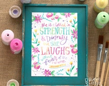 Clothed in Strength Print, 5x7 Proverbs 31 Art, Prov 31:25, Floral Scripture Art, Bible Verse Print, Girls Room Print, R5-P31S