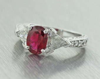 Vintage 14k Solid White Gold 1.95ctw Ruby and Diamond Engagement Ring Size 5.75 MSRP 6990