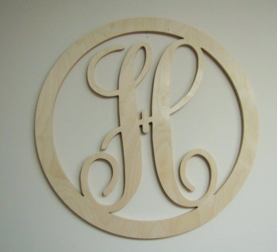 Unfinished wooden letter single letter escript initial with for Individual wooden letters
